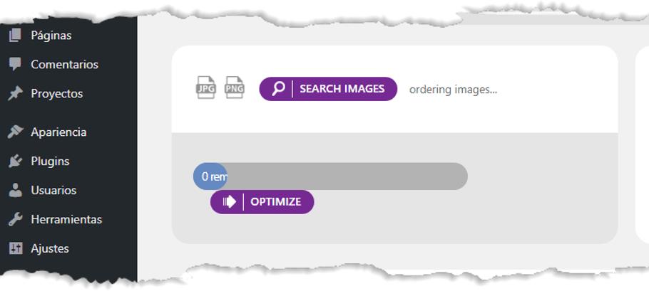 espera de la optimizacion de imagenes