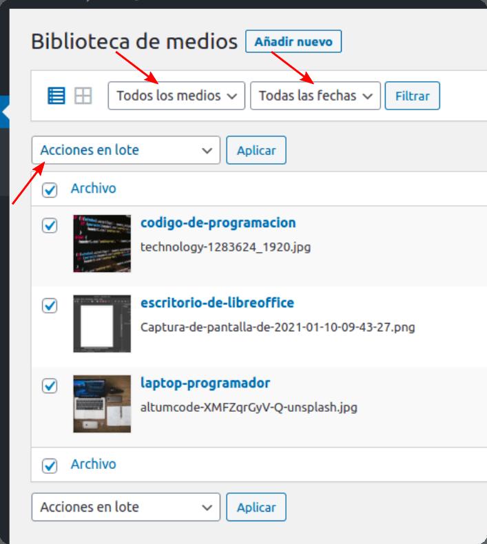 biblioteca de medios