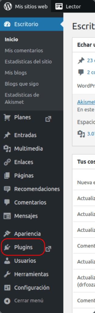 Barra lateral de WordPress.com para subir imágenes webp o svg