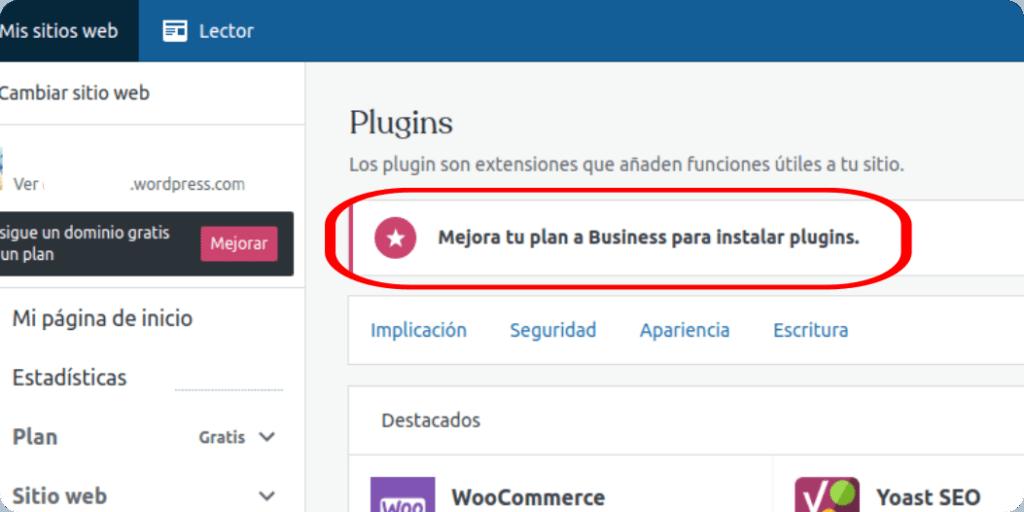 Aviso de WordPress.com en plugins PARA SUBIR IMÁGENES WEBP O SVG