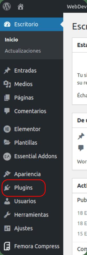 Barra lateral de WordPress para seleccionar imágenes webp o svg