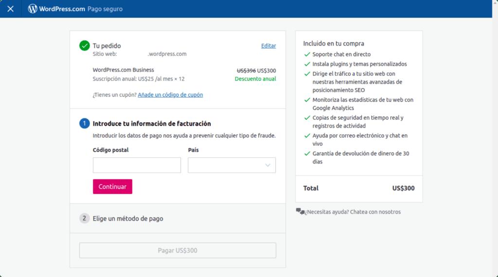 Formulario de pago de WordPress.com
