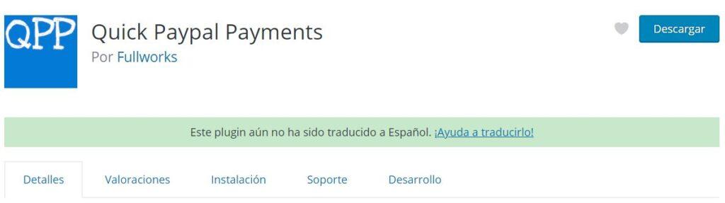 Plugin de paypal para WordPress Quick Paypal Payments